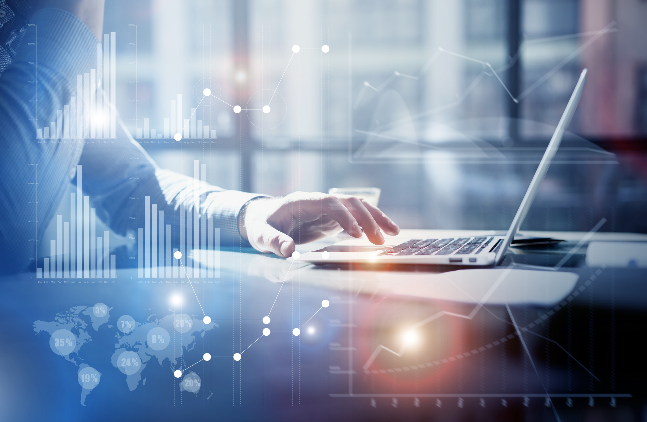 Businessman working investment project modern office business chart computer technology