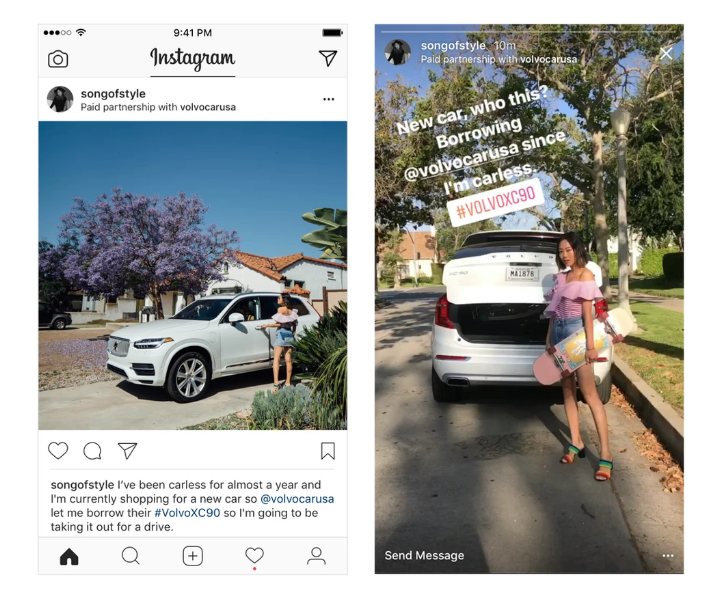 """Már tesztelik az Instagram """"Paid Partnership Tool With"""" eszközét a szponzorált posztok -hoz"""