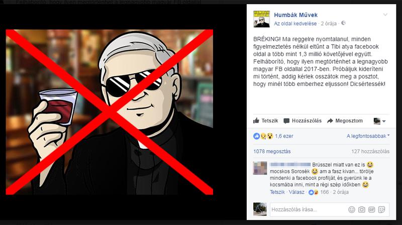 Törölték Tibi atya Facebook oldalát
