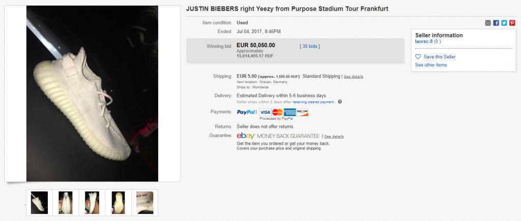 Justin Bieber(?) Yeezy cipőjének jobb fele az eBayen 5000 eurós kezdő és 50000+végső licittel :o