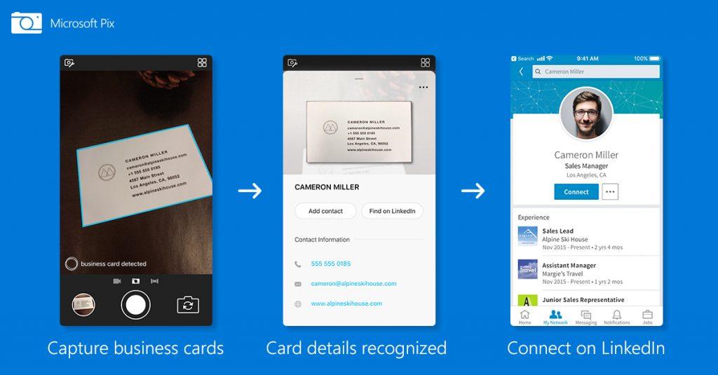 Microsoft Pix Camera LinkedIn névjegy detect AI
